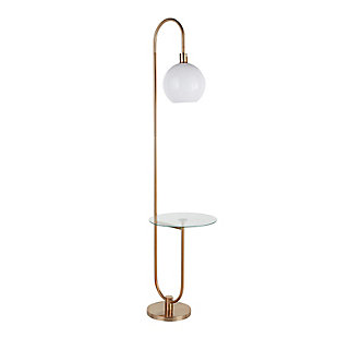 LumiSource Trombone Contemporary/Glam Floor Lamp in Gold Metal with Clear Glass Shelf, , large