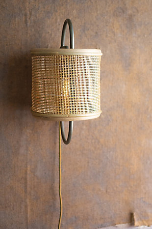 Kalalou Round Iron and Rattan Wall Sconce Light, , rollover