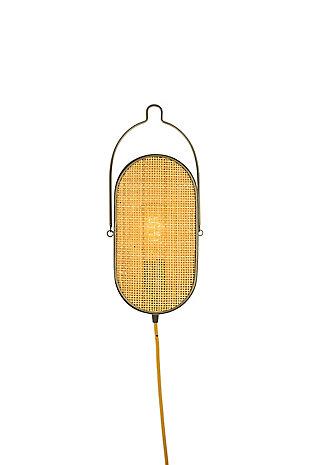 Kalalou Oval Metal Wall Light with Rattan Detail, , large