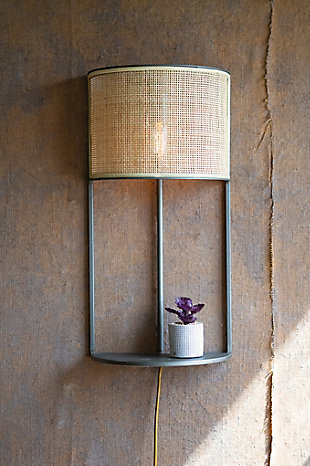 Kalalou Wall Sconce Light with Rattan Shade and Metal Shelf, , rollover