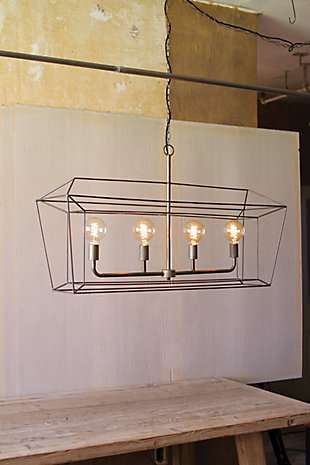 Kalalou Rectangle Iron Bar Pendant Light, , rollover