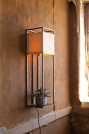 Kalalou Wall Lamp with Metal Frame and Canvas Shade, , rollover