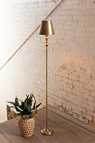 Kalalou Antique Gold Table Lamp with Metal Shade, , rollover