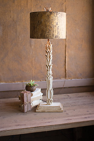 Kalalou Table Lamp - Carved Wooden Base with Rustic Metal Shade, , rollover