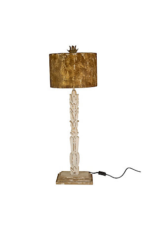 Kalalou Table Lamp - Carved Wooden Base with Rustic Metal Shade, , large