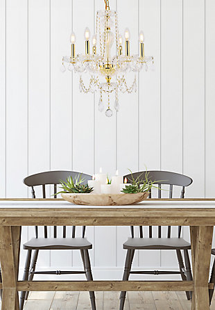 Giselle 6 Light Gold Chandelier Clear Royal Cut Crystal, Gold, rollover