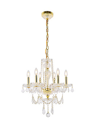 Giselle 6 Light Gold Chandelier Clear Royal Cut Crystal, Gold, large