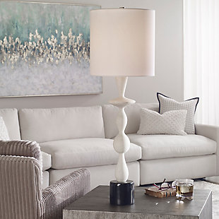 Uttermost Inverse White Marble Table Lamp, , rollover
