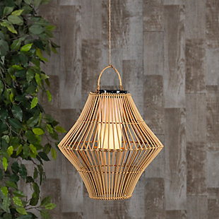 """Everlasting Glow 13.8"""" Outdoor Hanging Solar Operated Flame Effect Bamboo Pendant Light, , rollover"""