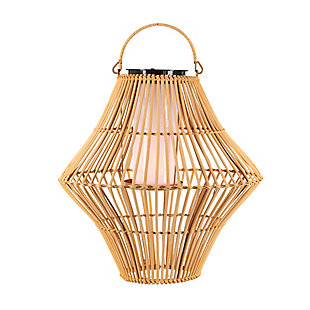 """Everlasting Glow 13.8"""" Outdoor Hanging Solar Operated Flame Effect Bamboo Pendant Light, , large"""