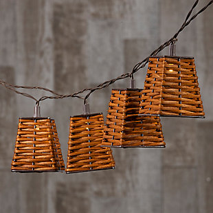 Everlasting Glow 12' Outdoor Solar Patio Light Strings With Rattan Shade Covers, , rollover