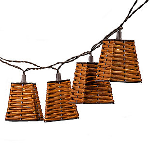 Everlasting Glow 12' Outdoor Solar Patio Light Strings With Rattan Shade Covers, , large
