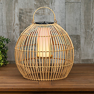 "Everlasting Glow 13"" Outdoor Hanging Solar Operated Flame Effect Bamboo Pendant Light, , rollover"