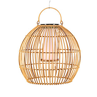 "Everlasting Glow 13"" Outdoor Hanging Solar Operated Flame Effect Bamboo Pendant Light, , large"