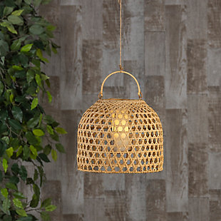 "Everlasting Glow 11"" Outdoor Hanging Solar Operated Flame Effect Bamboo Pendant Light, , rollover"