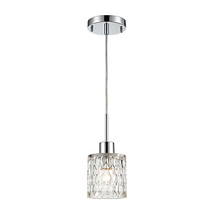 Ezra  1-Light Mini Pendant in Polished Chrome with Textured Clear Crystal, , large