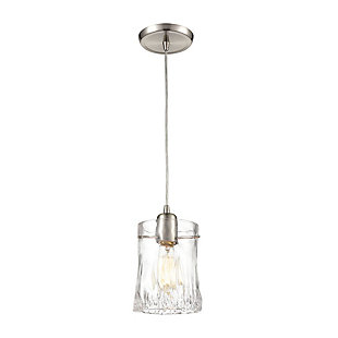 Hand Formed Glass  1-Light Mini Pendant in Satin Nickel with Clear Hand Formed Glass, , rollover