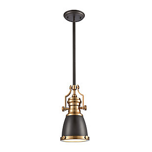 Chadwick  1-Light Mini Pendant in Oil Rubbed Bronze with Metal and Frosted Glass, , large