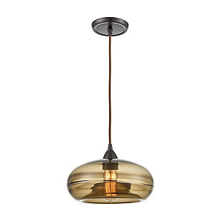 Hazelton  1-Light Mini Pendant in Oil Rubbed Bronze with Earth Brown Fused Glass, , rollover