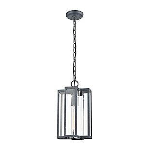 Bianca  1-Light Hanging Pendant in Aged Zinc with Clear, , large