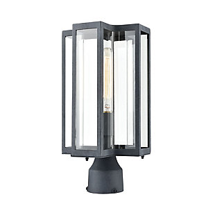 Bianca  1-Light Post Mount in Aged Zinc with Clear, , large