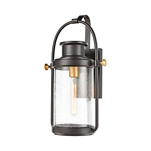 Bianca  1-Light Sconce in Matte Black with Seedy Glass, , rollover