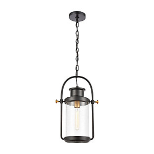 Bianca  1-Light Hanging Pendant in Matte Black with Seedy Glass, , large