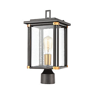 Bianca  1-Light Post Mount in Matte Black with Seedy Glass, , large