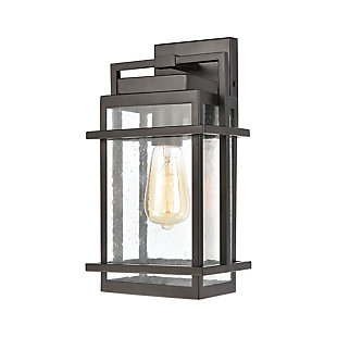 Bianca  1-Light Sconce in Matte Black with Seedy Glass, Matte Black, large