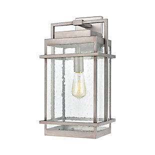 Bianca  1-Light Sconce in Weathered Zinc with Seedy Glass, Weathered Zinc, large