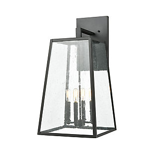 Bianca  4-Light Sconce in Matte Black with Seedy Glass, , large