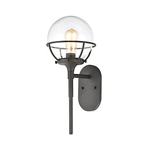 Bianca  1-Light Sconce in Charcoal with Clear Glass, , large