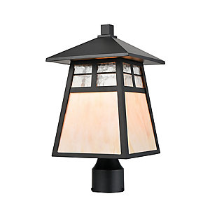 Bianca  1-Light Post Mount in Matte Black with Antique White Art Glass and Clear Textured Glass, , large
