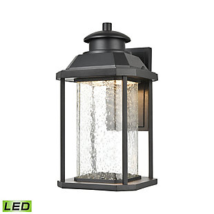 Bianca  Sconce in Matte Black with Seedy Glass - Integrated LED, , large