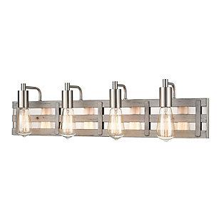 Elk Home 4-Light Vanity Light in Weathered Driftwood/Satin Nickel, , large