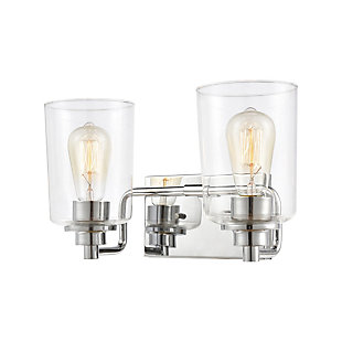 Elk Home 2-Light Vanity Light in Polished Chrome with Clear Glass, Polished Chrome, large