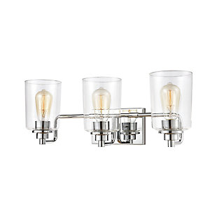 Elk Home 3-Light Vanity Light in Polished Chrome with Clear Glass, Polished Chrome, large