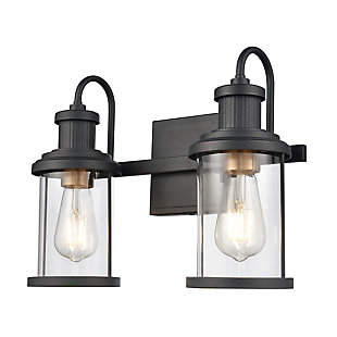 Elk Home 2-Light Vanity Light in Matte Black/Burnished Brass, Matte Black, large