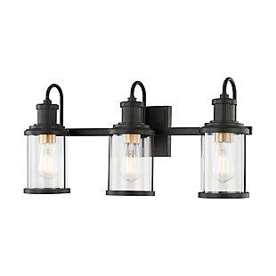 Elk Home 3-Light Vanity Light in Matte Black/Burnished Brass, Matte Black, large
