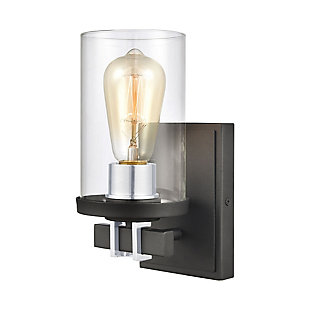 Elk Home 1-Light Vanity Light in Charcoal/Beechwood, Charcoal, large