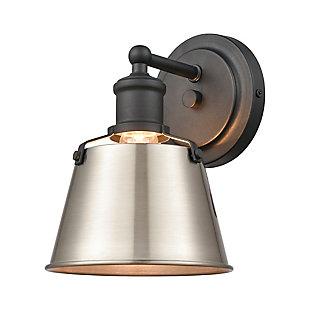 Elk Home 1-Light Vanity Light in Charcoal/Enamel White, Charcoal, large