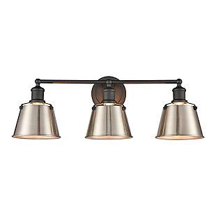 Elk Home 3-Light Vanity Light in Charcoal/Enamel White, Charcoal, large