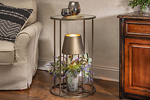 Lone Elm Studios 27.55-in H Round Metal Accent Table with Glass Top and Built In Electric Lamp, , rollover