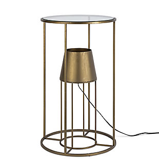 Lone Elm Studios 27.55-in H Round Metal Accent Table with Glass Top and Built In Electric Lamp, , large