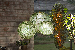Lone Elm Studios Set of Six Paper Fern Plant Pattern Lanterns with Built in LED Light, , rollover