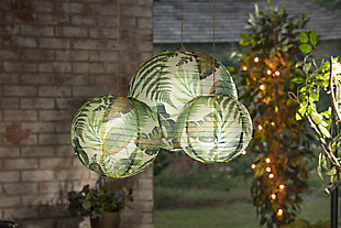 Lone Elm Studios Set of Six Assorted Paper Tropical Plant Pattern Lanterns with Built in LED Light, , rollover
