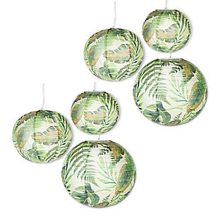 Lone Elm Studios Set of Six Assorted Paper Tropical Plant Pattern Lanterns with Built in LED Light, , large