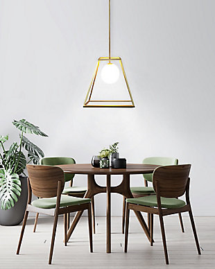 A Touch Of Design Jade Antique Brass and Glass Iron 1-Light Pendant, , rollover