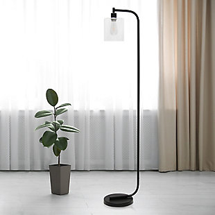 Simple Designs Antique Style Industrial Iron Lantern Floor Lamp with Glass Shade, Black, Black, rollover