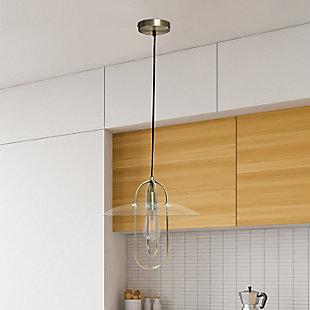 Lalia Home 1 Light Elongated Metal Pendant Light, Antique Brass, Antique Brass, rollover